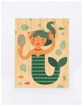 Petit Collage Small Unframed Print on Wood - Mermaid