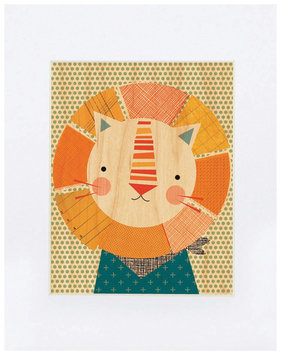 Petit Collage Small Unframed Print on Wood- Friendly Lion