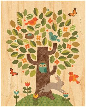 Petit Collage Small Unf Print On Wood-Tree