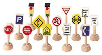 PlanToys Set of Traffic Signs and Lights 1 (Usa)
