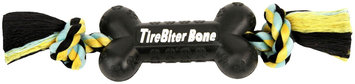 Mammoth Pet Products Tire Biter Bone with Rope Dog Toy in Black