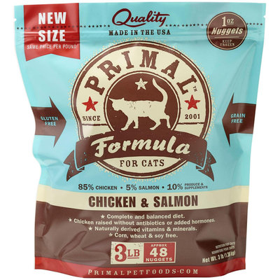 Primal Pet Foods Raw Cat Chicken & Salmon Nuggets 3 lbs