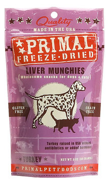 Primal Pet Foods Primal Freeze Dried Turkey Liver Munchies for Dogs