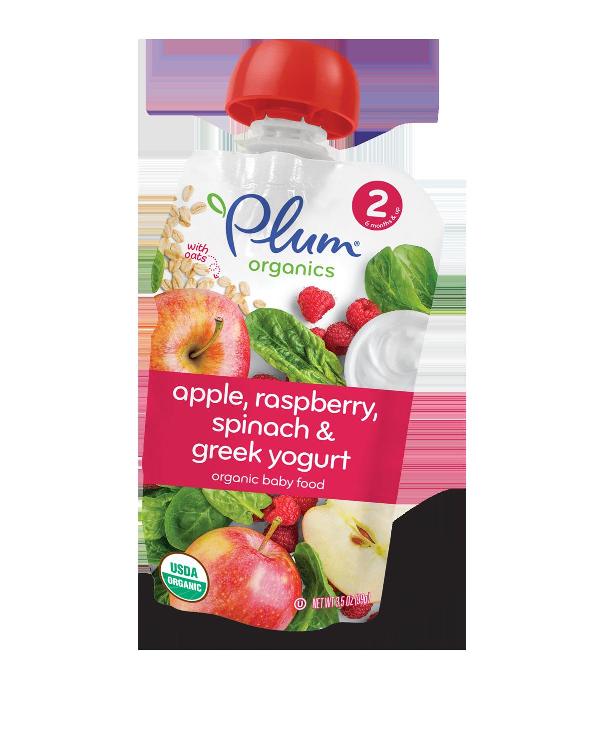 Plum Organics Second Blends Apple, Raspberry, Spinach & Greek Yogurt
