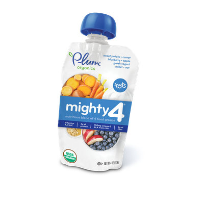 Plum Organics Mighty 4® Blends Sweet Potato, Carrot, Blueberry, Apple, Greek Yogurt, Millet & Oat