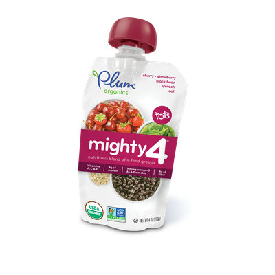 Plum Organics Mighty 4® Blends Cherry, Strawberry, Black Bean, Spinach & Oat