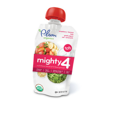 Plum Organics Mighty 4® Blends Strawberry, Banana, Kale, Greek Yogurt, Oat & Amaranth