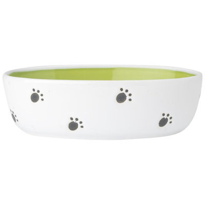 PetRageous Designs 2-Cup Silly Kitty Oval Pet Bowl (Green)