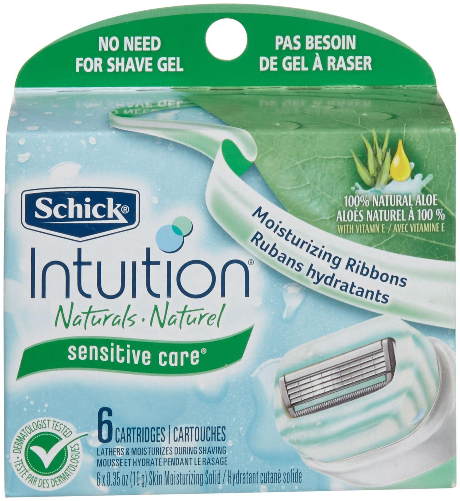 Schick Intuition Naturals Sensitive Care Razor Cartridges, 6 count