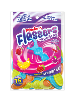 Plackers Dual Grip Fruit Smoothie Swirl Kid's Flossers