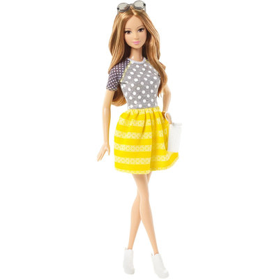 Barbie Fashionistas Summer Doll, Yellow and White Striped Skirt - 1 ct.