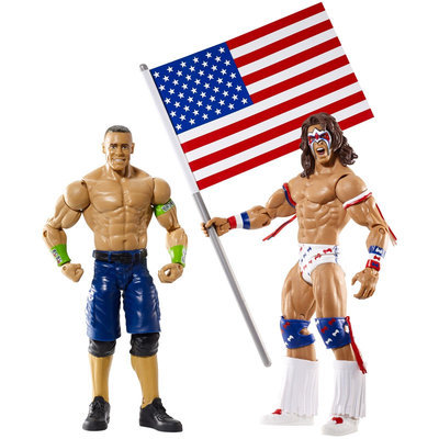 WWE Battle Pack: John Cena vs. Ultimate Warrior with USA Flag