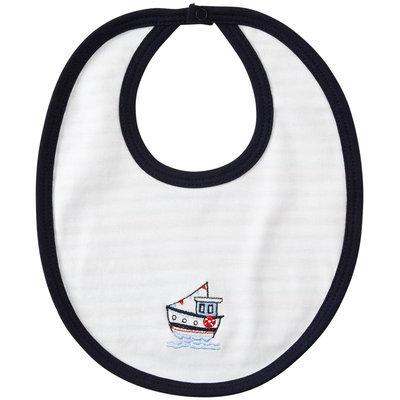 Kissy Kissy Tugboat Reversible Bib (Baby) - Navy - 1 ct.