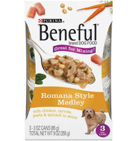 Beneful Wet Dog Food Romana Style Medleys With Chicken Carrots Pasta And Spinach