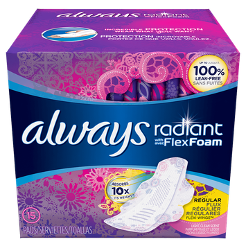 Always Radiant Regular Pads with Wings Scented