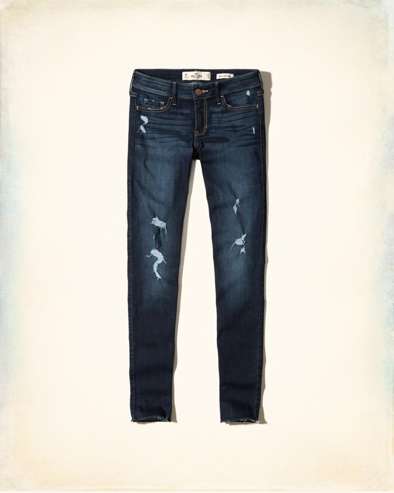 Hollister Ripped Dark Wash Low-Rise Super Skinny Jeans