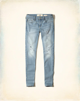 Hollister Ripped Light Wash Low-Rise Super Skinny Jeans
