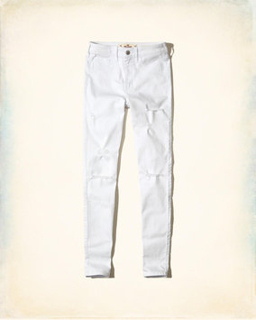 Hollister Ripped White High-Rise Super Skinny Jeans
