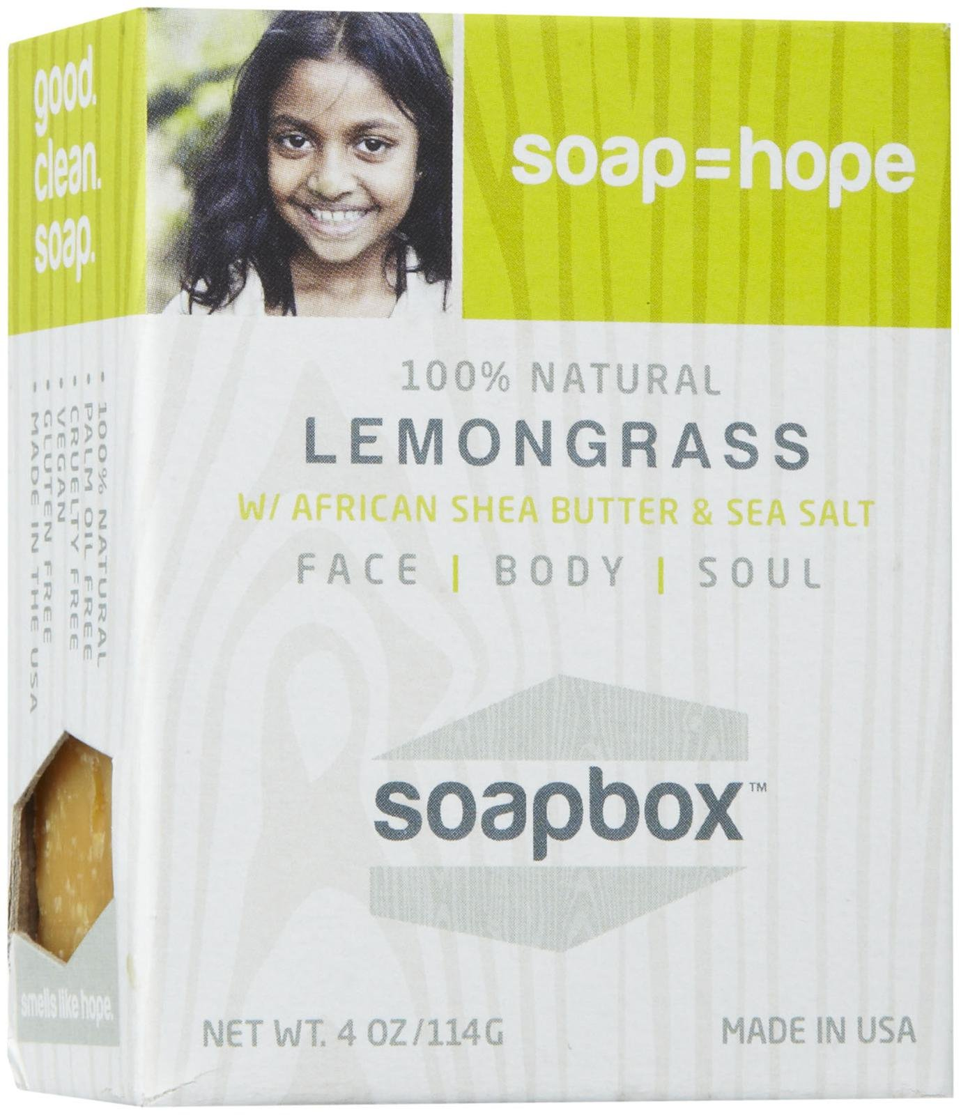 SoapBox Soaps 728028076745 All-Natural Lemongrass Bar Soap - Pack of 6