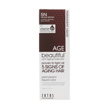 AGEbeautiful Anti-Aging Permanent Liquid Haircolor with Vitamin E 5N Medium Brown