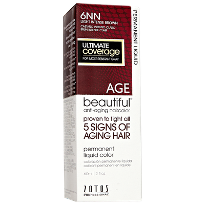 AGEbeautiful Anti-Aging Permanent Liquid Haircolor with Vitamin E 6NN Light Intense Brown