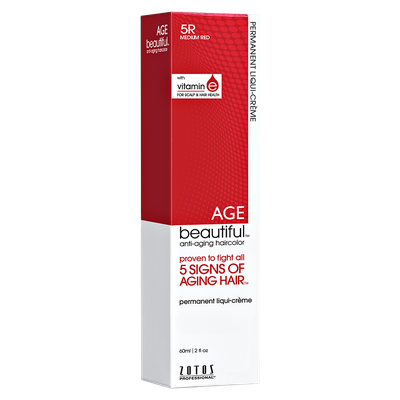 Zotos AGEbeautiful Anti-aging Permanent Liqui-creme Haircolor 5R Medium Red