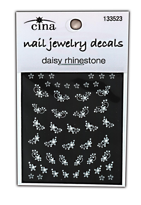 Cina Nail Art Decals Diamonds & Daisies Rhinestones