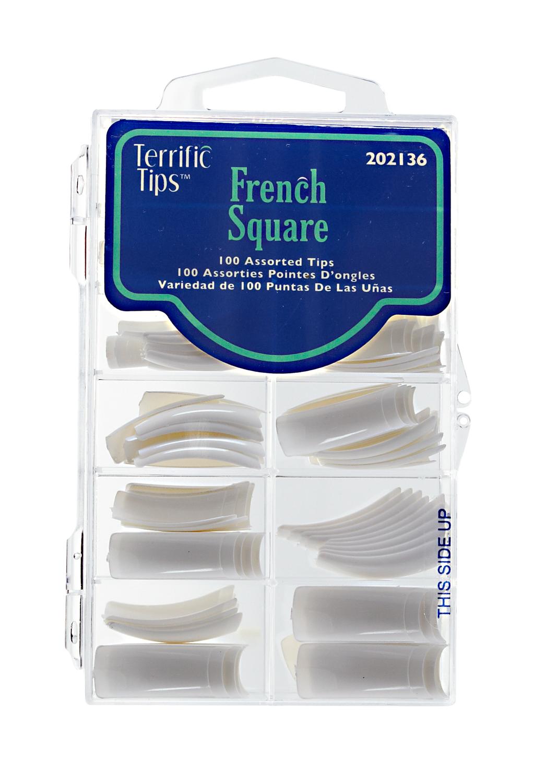 Terrific Tips French Square White Nail Tips
