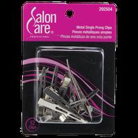 Salon Care Metal Single Prong Curl Clips