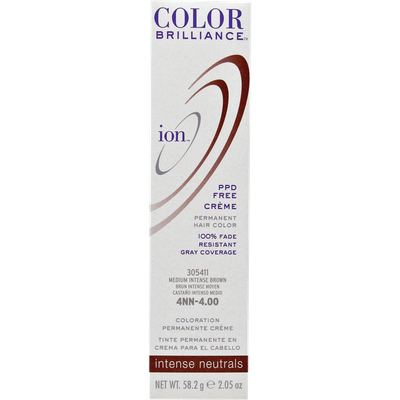 Ion Color Brilliance Permanent Creme Intense Neutrals 4NN Medium Intense Brown