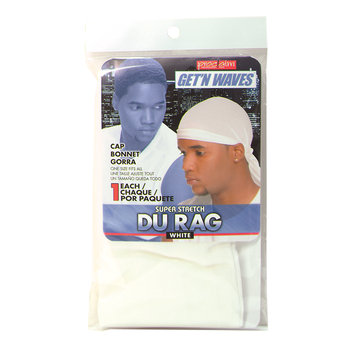 Proclaim Get 'N Waves Super Stretch Du Rag - White