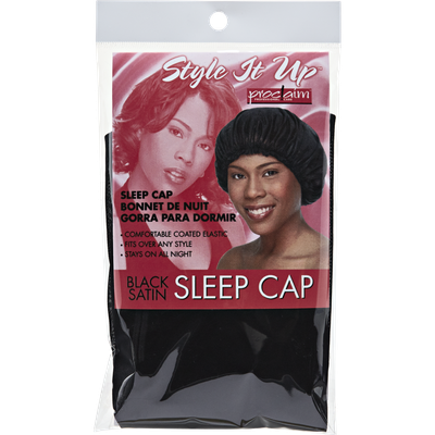 Proclaim Style It Up Black Satin Sleep Cap