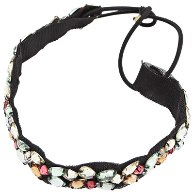Dcnl Hair Accessories DCNL Black Headwrap with Color Stones