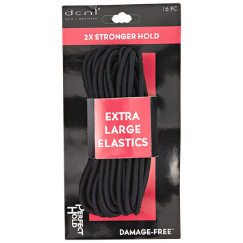 Dcnl Hair Accessories DCNL Extra Large Black Elastics 16 Count