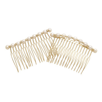 Dcnl Hair Accessories DCNL Gold And Pearl Side Combs