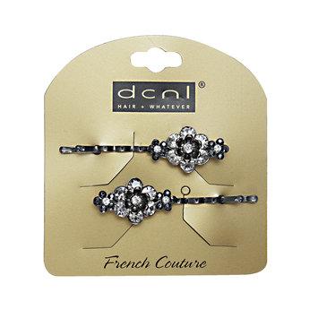 Dcnl Hair Accessories DCNL Black Flower Rhinestone Bobbies