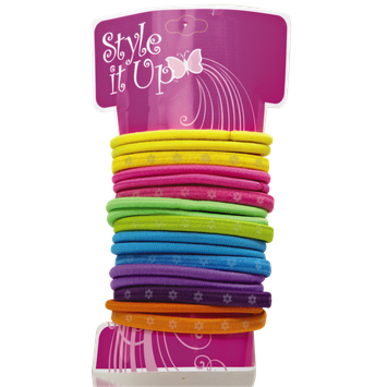 Style It Up Flat Flower Print Hair Elastics