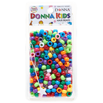 Donna Kids Assorted Colors Plastic Beads 500 Piece Pack