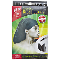 Titan Spandex Dreadlock Cap Jumbo Size Black