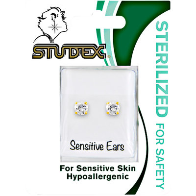 Studex 5mm CZ Gold Plated Surgical Steel Earring