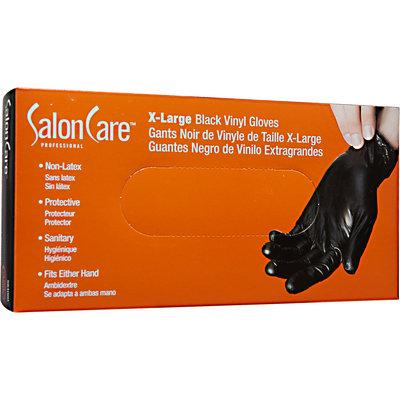 Salon Care Extra Large Black Vinyl Gloves