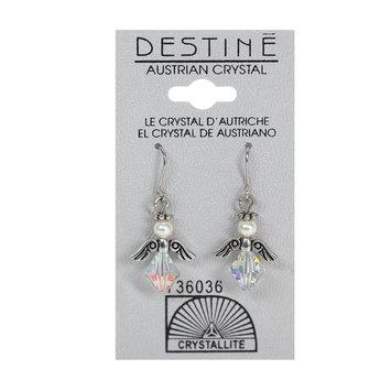 Crystallite By Destine Destine Austrian Crystal Earrings Clear Angel Dangle