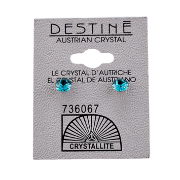Crystallite Destine Austrian Crystal Blue Zicon Diamond Cut Post Earrings