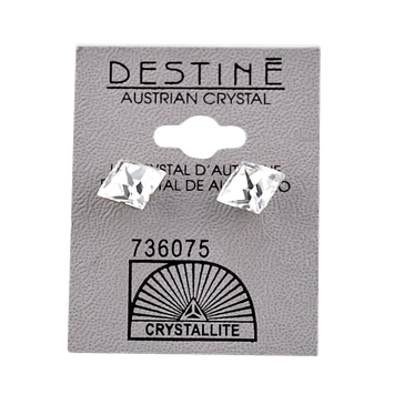 Crystallite Destine Austrian Faceted Square Post Earrings