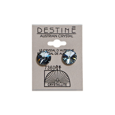 Crystallite Destine Austrian Dark Moss Green Rivoli Earrings