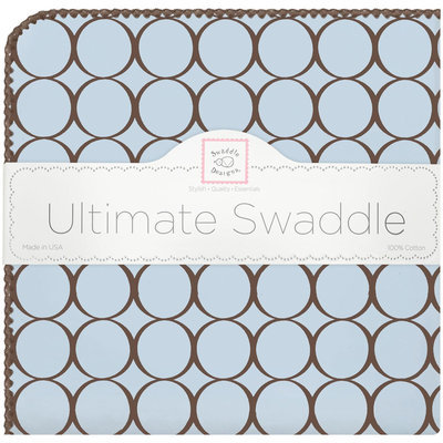 SwaddleDesigns Ultimate Receiving Blanket - Blue w/ Brown Circles