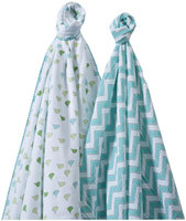 Swaddle Designs SwaddleDuo - Set of 2 - Little Chickies + Chevron, Turquoise