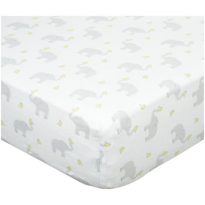 Swaddle Designs Fitted Crib Sheet - Elephant and Chickies, Pastel Yellow - 1 ct.