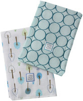 Swaddle Designs Baby Burpies - Cotton - Turquoise Mod Circles - 2 ct