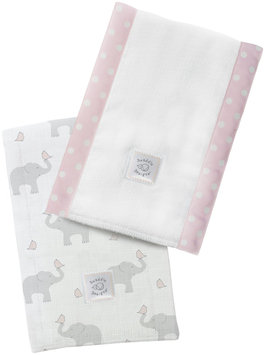 Swaddle Designs Baby Burpies - Pastel Pink Elephants and Chickies - 2 Pk - 1 ct.